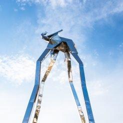 Futuristic sculpture used to illustrate digital transformation