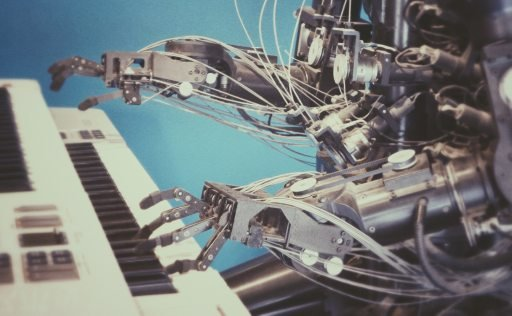 A robot playing piano, powered by a bespoke software solution